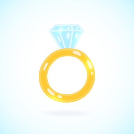 Cute cartoon ring with brilliant. Engagement ring illustration Vector