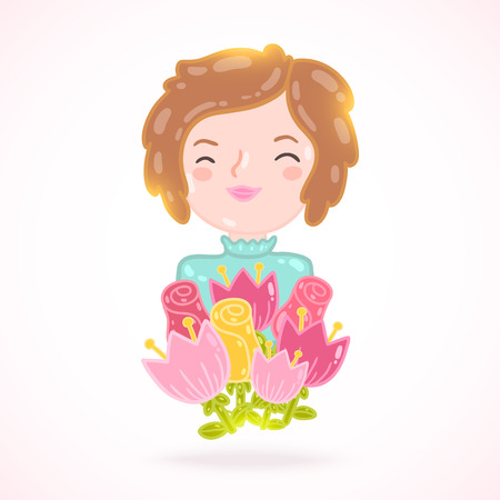 young womens: Cute cartoon woman with flowers. Flower illustration
