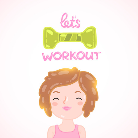 Cute cartoon woman with dumbbell. Sport illustration Vector