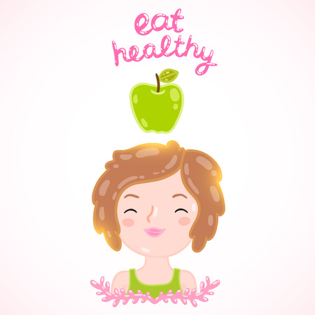 Eat healthy - poster with apple and a girl. Diet vector illustration Illustration