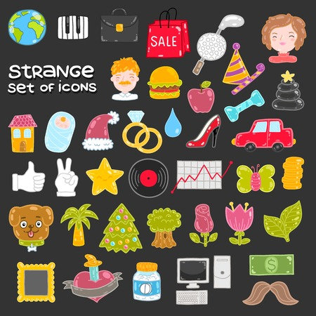 Set of vector icons - flower, dog, tree, mustache, hamburger Vector
