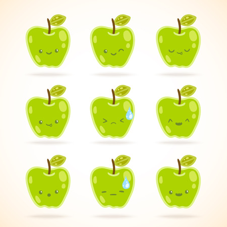 glower: green apple with many expressions. vector image illustration