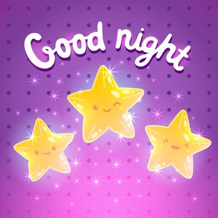buonanotte: Carino cartone animato sfondo stella. Buona notte illustrazione vettoriale Vettoriali