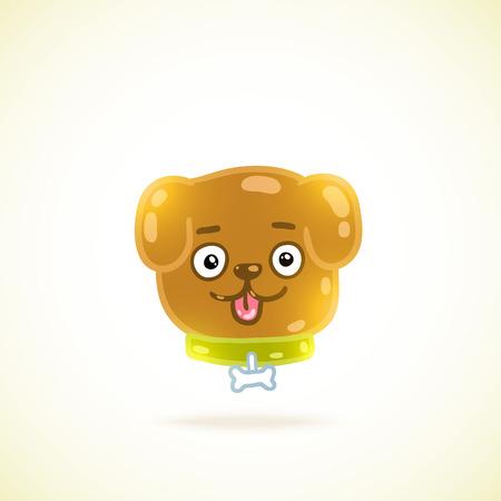 loveable: cute cartoon dog illustration. vector animal image