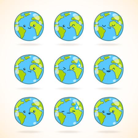 Cute funny cartoon Earth globe with face emotions set. Vector illustration. Иллюстрация
