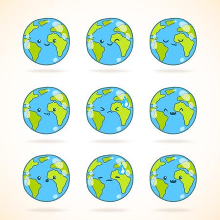 tierra caricatura: Globo de la tierra de dibujos animados divertido lindo con las emociones faciales establecido. Ilustraci�n del vector. Vectores