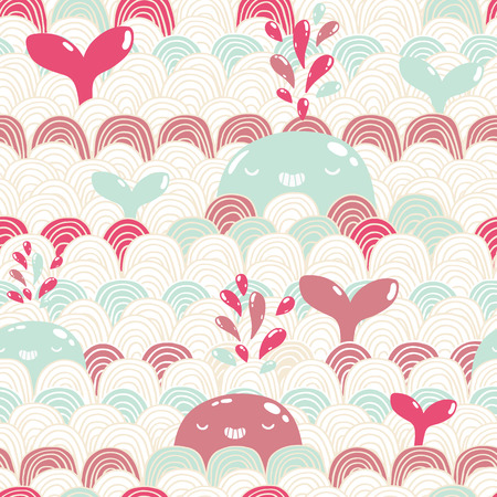 Cute cartoon whale and waves seamless pattern. vector image illustration Vector