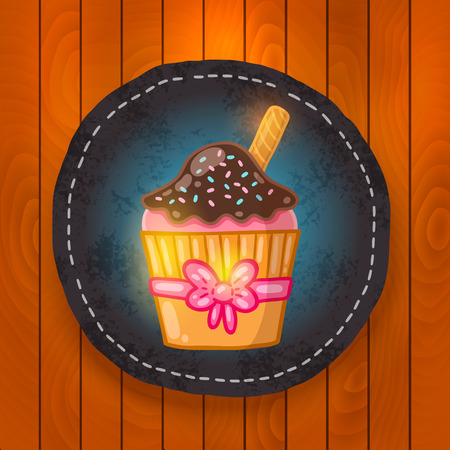 chocolate mint: vector cupcake with chocolate cream. Muffin badge on wood background