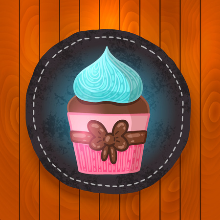 chocolate mint: cute vector cupcake with chocolate and mint cream.