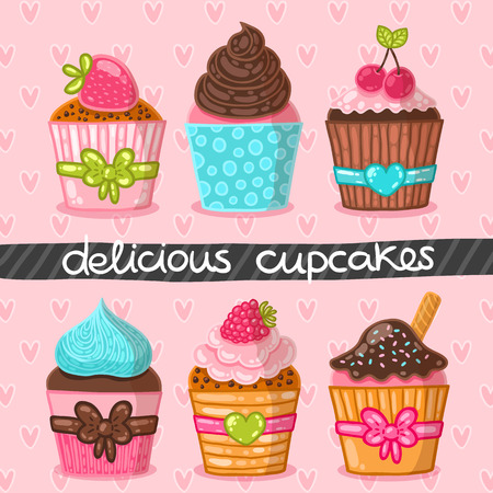 Muffin set. Cupcake set. Hand drawn vector illustration. Food image. Illustration