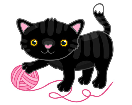 Cute cartoon black cat with claw. Vector animal illustration. Vector hand drawn image Vector