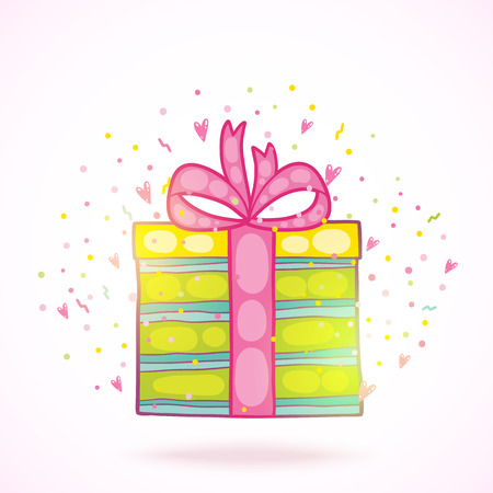 Happy Birthday present gift box with confetti. Vector holiday background.