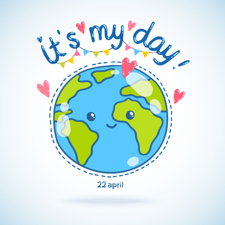concept day: Cute cartoon Earth globe postcard. Earth day background. Illustration