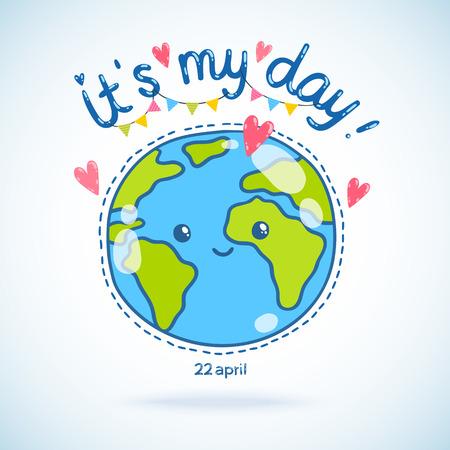 planeta tierra feliz: Lindo globo de la tierra de dibujos animados de tarjetas postales. Día de la Tierra de fondo. Vectores
