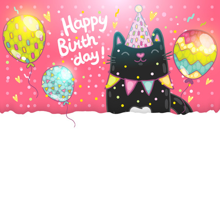 Happy Birthday card background with a cat. Vector holiday party template Иллюстрация