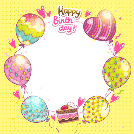 Happy Birthday card background with cake and balloons.