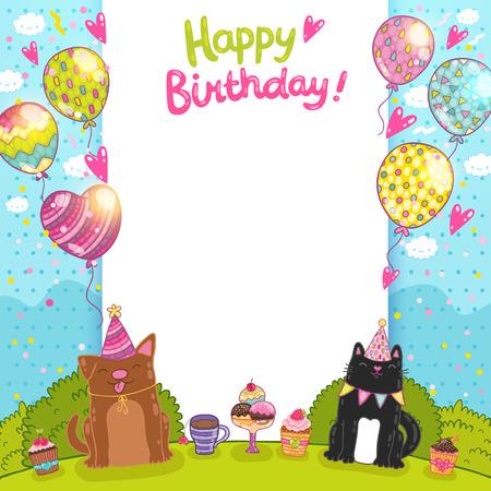 happy birthday party: Fondo Feliz tarjeta de cumplea�os con un gato, el perro y pastelitos. Vectores