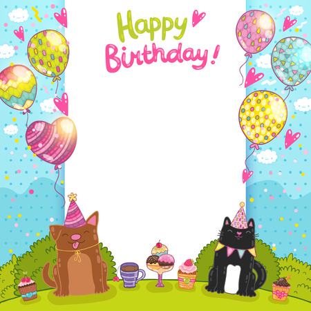 child ice cream: Happy Birthday card background with a cat, dog and cupcakes.