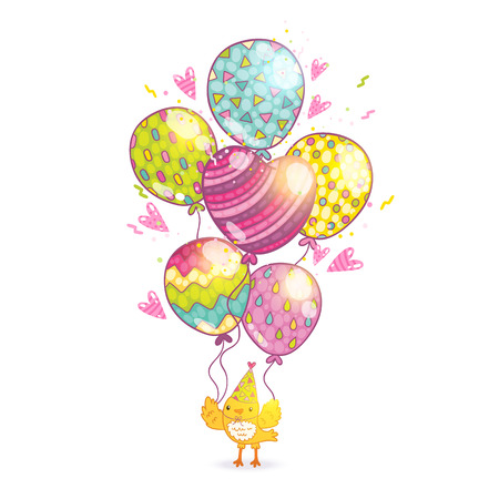 Happy Birthday card background with a bird and balloons. Illustration