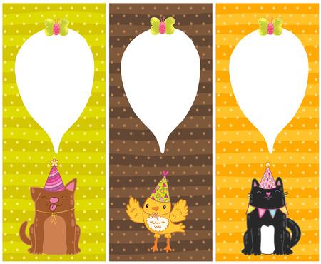 cute cartoon Happy Birthday cards with dog, cat, bird Vector