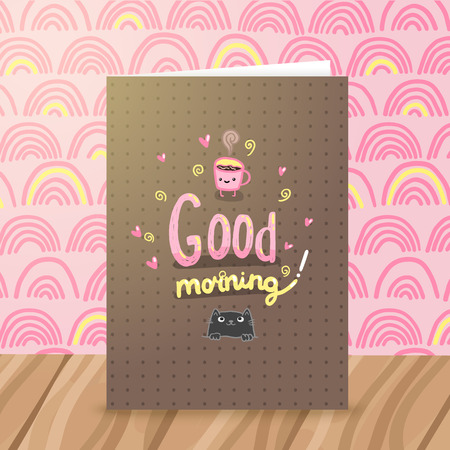 Good morning illustration with coffee and cat. Cute vector background Vector