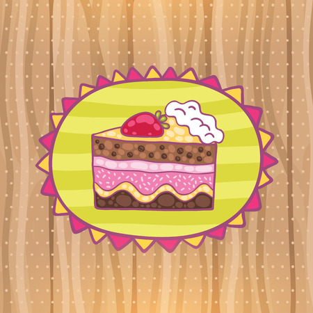 Cute cartoon Happy Birthday card with strawberry cake. Holiday vector background Vector