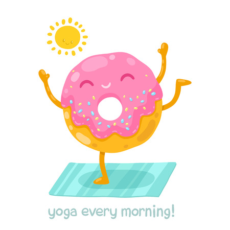 Cute donut doing yoga in the morning. Cartoon funny character illustration