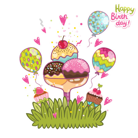 cream paper: Happy Birthday card background ice cream. Vector holiday party template