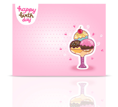 cream paper: Happy Birthday card background with ice cream. Vector holiday party template