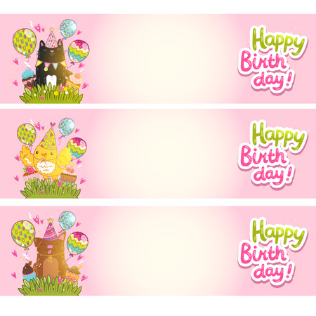 Happy Birthday cards background with cat, dog, bird. Vector holiday party template Vector