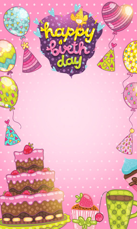 Happy Birthday Card Background With Cake Balloons And Cupcakes