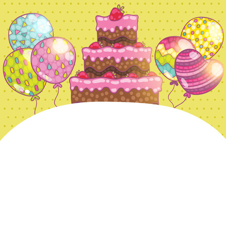 holiday party: Happy Birthday card background with cake. Vector holiday party template Illustration