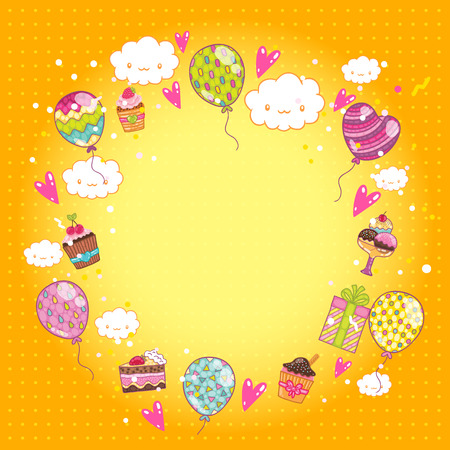Happy Birthday card background with cupcakes and balloons. Vector holiday party template Vector