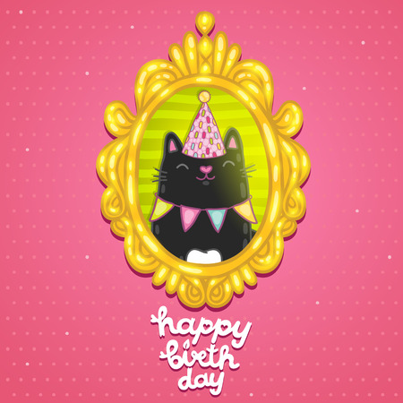 Happy Birthday card background with a cat in frame. Vector holiday party template Vector