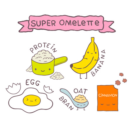 cute cartoon Super omelette recipe. vector image illustration Vector
