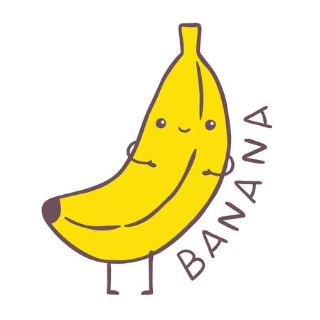 platano caricatura: carácter lindo de plátano de la historieta. vector, imagen, ilustración