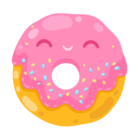 cute smiling donut with pink cream. cartoon food illustration.
