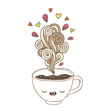 Cute cartoon coffee cup with doodle steam and hearts Ilustracja