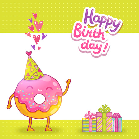 breakfast smiley face: Happy Birthday card background with cute donut. Vector holiday party template