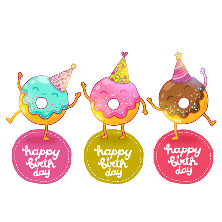 cartoon face: Happy Birthday card background with cute donut. Holiday vector background Illustration
