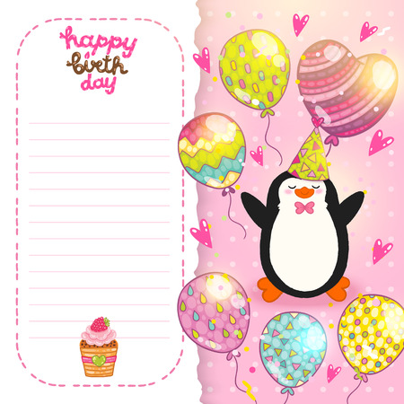 Happy Birthday card background with cute penguin. Vector holiday party template Vector
