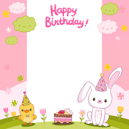 Happy Birthday card with a bird, bunny and cake