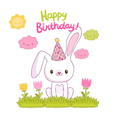 Happy Birthday Card With A Bunny Royalty Free Cliparts Vectors
