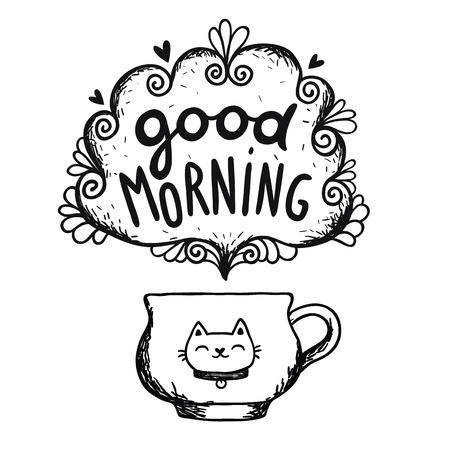 グッド モーニング コーヒーのカップと猫とスケッチします。