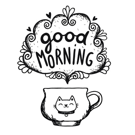 Good morning sketch with cup of coffee and cat. Vector