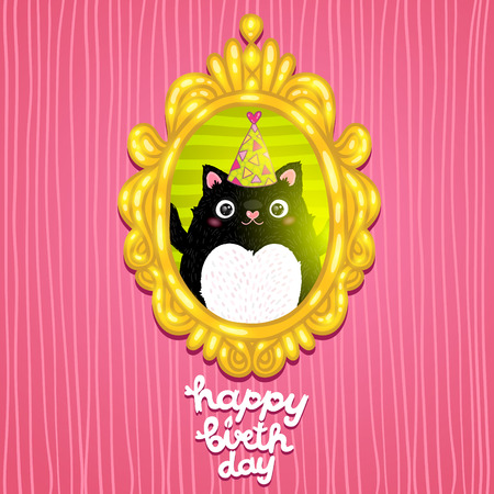 Happy Birthday card background with a cat. Vector holiday party template Vector