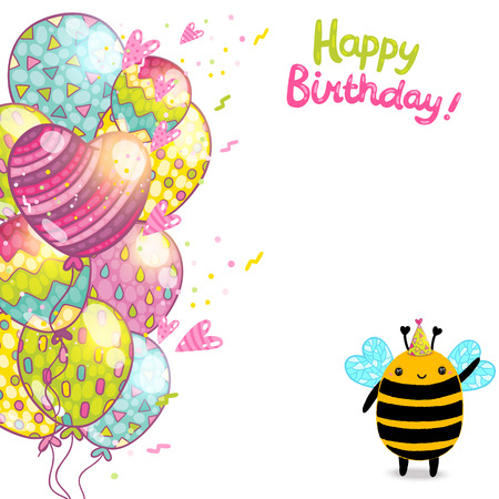 bee party: Happy Birthday card background with a bee. Vector holiday party template