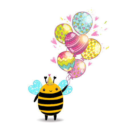 Happy Birthday card background with a bee. Vector holiday party template Vector