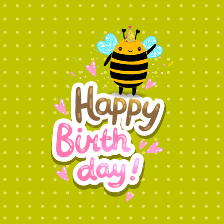 bee birthday party: Happy Birthday card background with a bee. Vector holiday party template