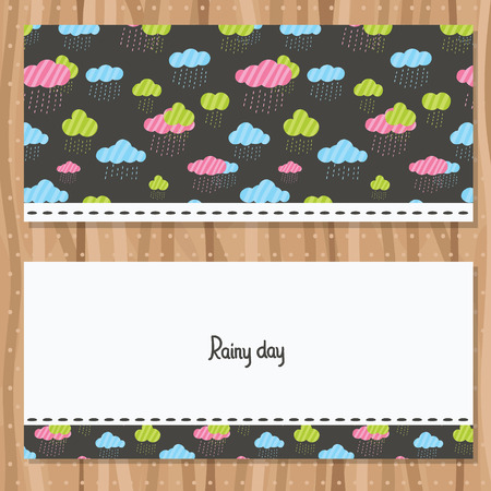Rainy clouds brochure template. Cute flyer design. Vector image. Vector